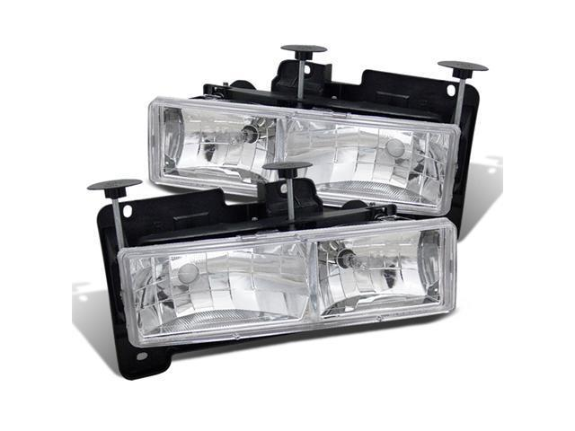 CG CHEVY FULLSIZE 88-98 CRYSTAL HEADLIGHT CLEAR W/ BULB 02-AZ-CF88-C PAIR