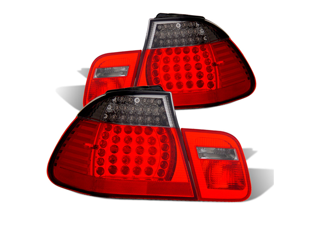 CG BMW 3 SERIES E46 02-04 4 DR L.E.D TAILLIGHT RED/SMOKE 4 PCS 03-B302TLED4DRS-4 PAIR