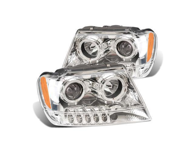 CG JEEP GRAND CHEROKEE 99-04 PROJECTOR HEADLIGHT HALO CHROME CLEAR AMBER 02-AZ-JGC99-PCC-R-A PAIR
