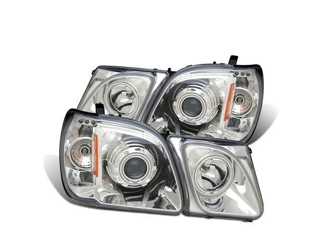 CG LEXUS LX470 98-07 PROJECTOR HEADLIGHT HALO W/O CCFL BAR CHROME CLEAR AMBER (CCFL) 02-AZ-LL98-PCC-RFN-A PAIR