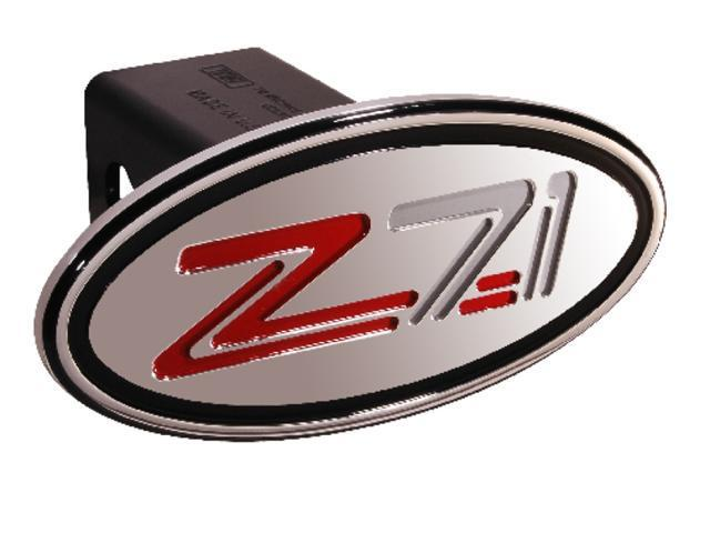 "Defenderworx Chevy Z71 Silver & Red Oval 2"" Billet Hitch Cover 34014"