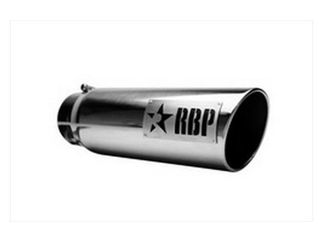 """RBP 56002 5""""-6""""X 18"""" Exhaust Tail Pipe Tip SS W/LASER CUT TWO TONE LOGO (STANDARD SIDE)"""
