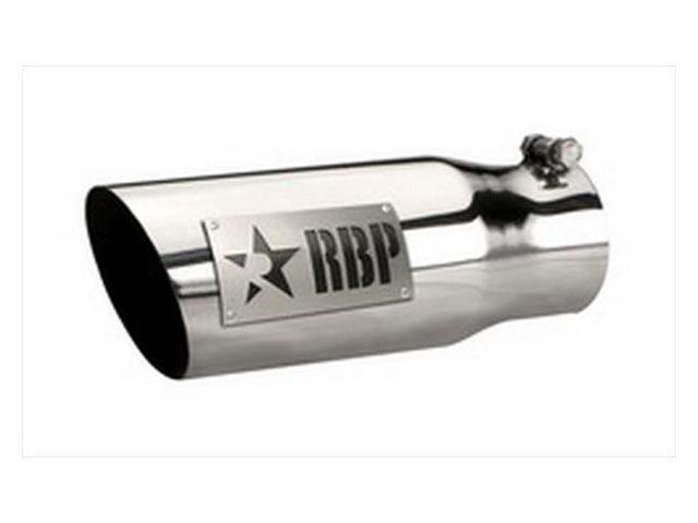 """RBP 35452-D 3.5""""-4.5""""X 12"""" Exhaust Tail Pipe Tip SS W/LASER CUT TWO TONE LOGO (DRIVER SIDE)"""