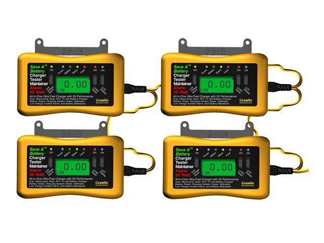 Save A Battery 4 Pack - 12 Volt 50 Watt Battery Charger Maintainer Tester 8250