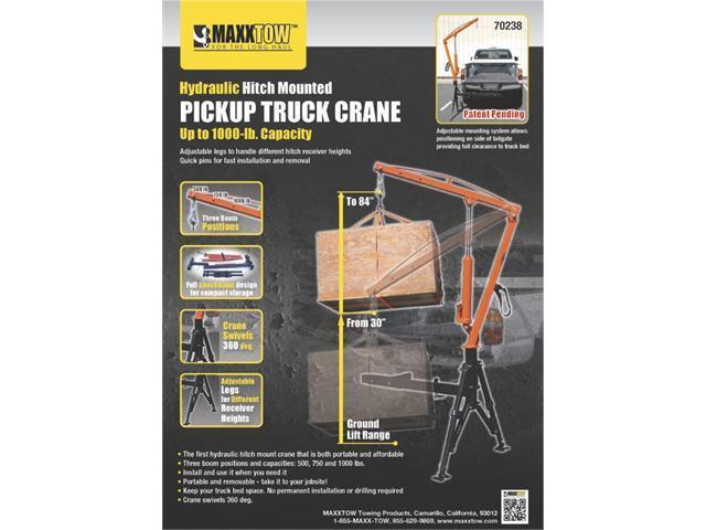 MAXXTOW Receiver Hitch Mounted Crane 1000lb Capacity 70238-LBL