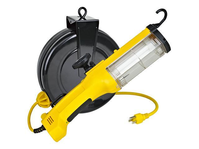 Alert Stamping 26 Watt Fluorescent Work Light on Retractable Cordreel with Outlet in Handle and Removeable Magnet 5030AQ