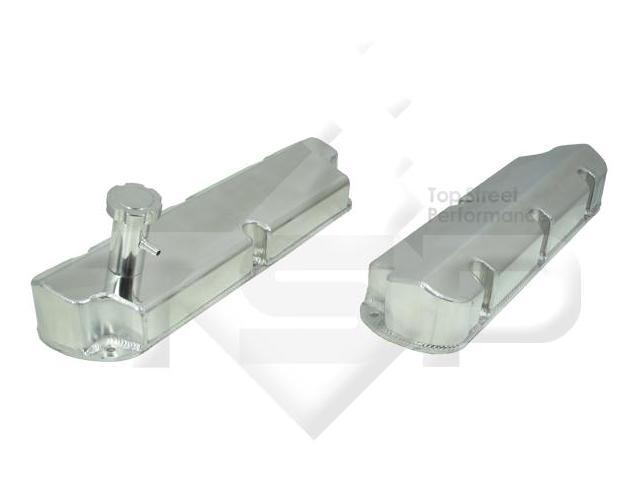 TSP TALL FABRICATED TAPERED EDGE VALVE COVER - SBF 289/302/351W, SHORT BOLT w/ Hole, Polished JM8041-8P