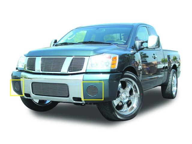 T-REX 2004-2012 Nissan Titan, Armada Bumper Fog Lamp Billet Grille Insert - 2 Pc - Horizontal or VERTICAL POLISHED 25781