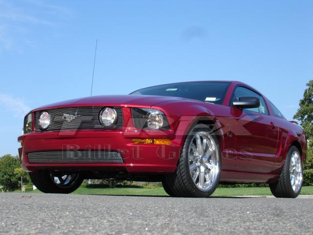 T-REX 2005-2009 Ford Mustang GT Models Billet Grille Insert - 3 Pc - GT Models w/Fog Lamps In Grille) (15 Bars) POLISHED 20516