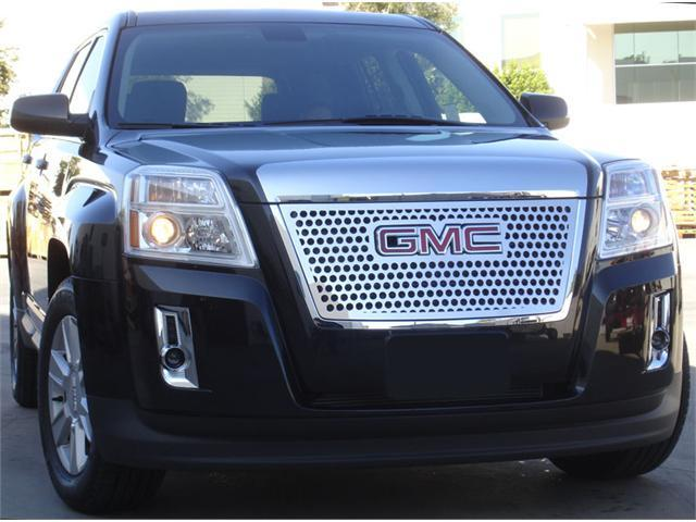 T-REX 2010-2012 GMC Terrain Denali Style Stainless Steel Grille with Round Holes - Overlay w/ Logo Opening POLISHED 54154