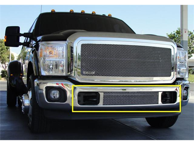 T-REX 2011-2012 Ford Super Duty Upper Class Polished Stainless Bumper Mesh Grille - Between Tow Hooks (Mesh Only - No Frame) POLISHED 55546