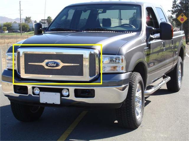 T-REX 2005-2007 Ford Super Duty, Excursion Grille Assembly - Aftermarket Chrome Shell - w/ 3 Pc Look Billet (54561) Installed POLISHED 50562