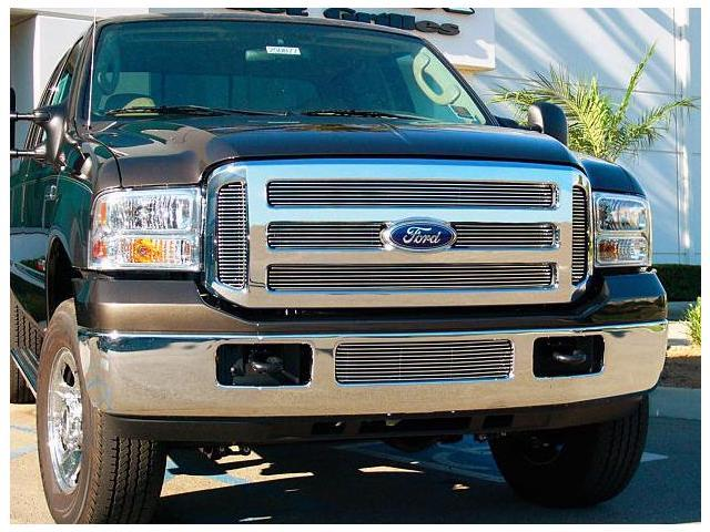 T-REX 2005-2007 Ford Super Duty XL Billet Grille Overlay/Bolt On - 6 Pc (6 Bars Each) POLISHED 21562