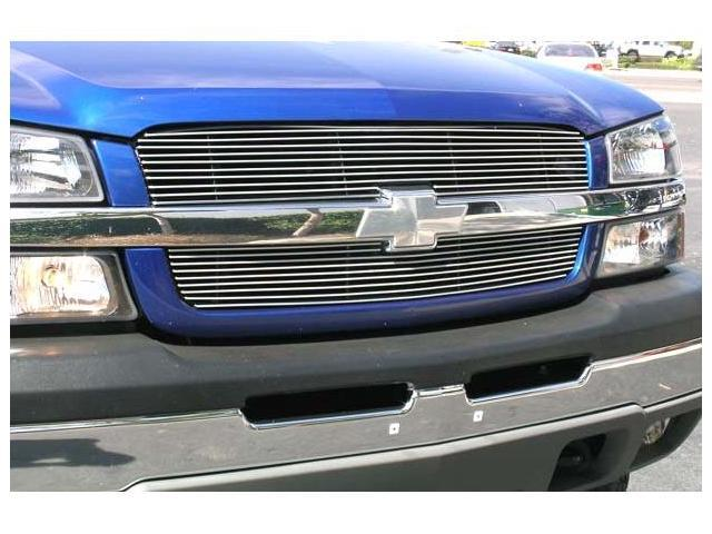 T-REX 2003-2005 Chevrolet Silverado (All Models Except 05 HD) Billet Grille Overlay/Bolt On & Insert - 2 Pc (10, 9 Bars) POLISHED 21100