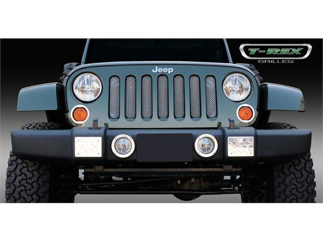 T-REX 2007-2012 Jeep Wrangler Sport Series Formed Mesh Grille - Stainless Steel - Triple Chrome Plated (installs behind fatory grille) CHROME 44481