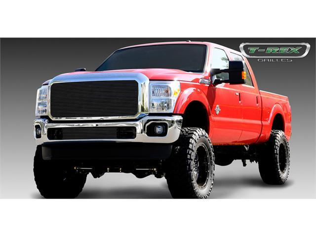 T-REX 2011-2012 Ford Super Duty Billet Grille Insert - 1 Pc - W/ Optional Logo Plate - All Black Powdercoat BLACK 20546B