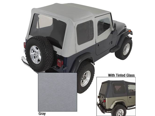 Rugged Ridge 13722.09 XHD Soft Top, Charcoal, Tinted Window, 88-95 Jeep Wrangler YJ