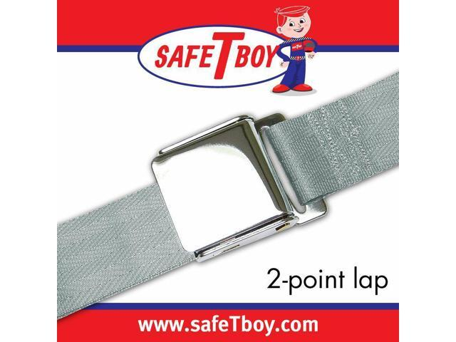 Safe Tboy 2pt Gray/Grey Lap Belt Airplane Buckle - Each STBSB2LAGR