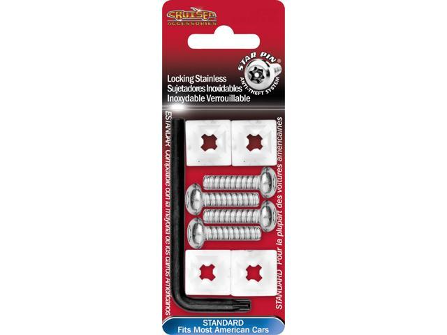 Cruiser Accessories Locking Fasteners, Standard-Stainless Star Pin License Plate Frame Fasteners 81200