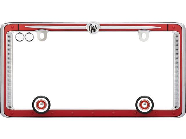 Cruiser Accessories License Plate Frame, Vintage, Red/Chrome w/fastener caps 58463