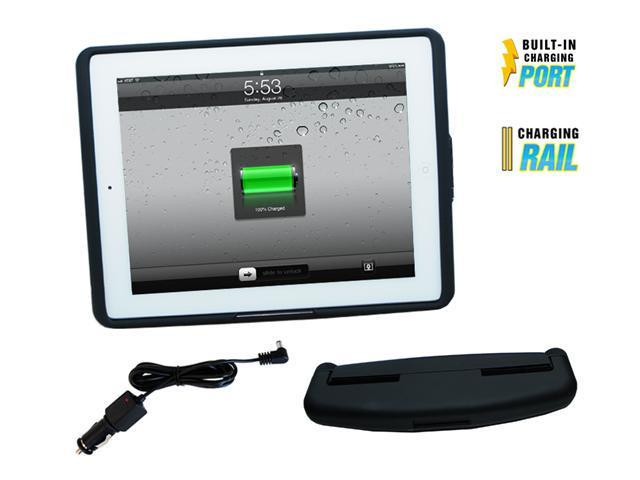 iPad 2 Power Case and Head Rest Mount, with power charging adapter, rubber black finish