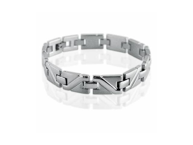 Mens Stainless Steel Solid Patterned Link Bracelet 8 1/2 inches