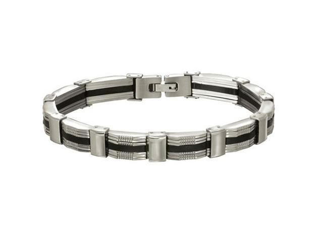 Oxford Ivy GSSB88 8 3/4 Inches Men's Solid Stainless Steel and Back Rubber Bracelet