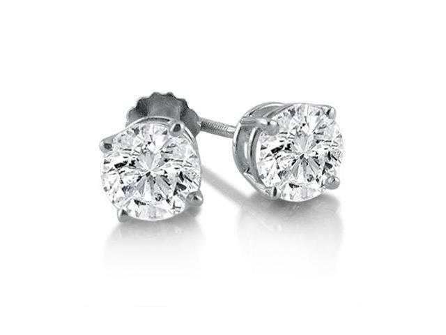 1ct Diamond Stud Earrings in 14K White Gold (SI1-2 G/H) IGL Certified