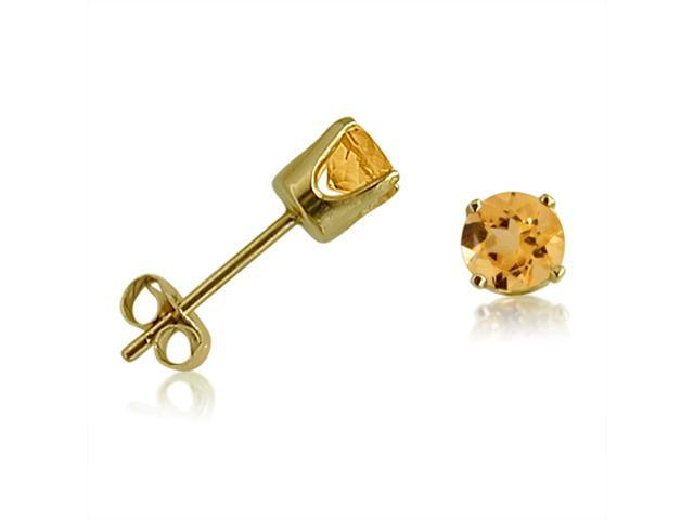 14K Yellow Gold Round Citrine Stud Earrings (4 mm 1/2ct tw)