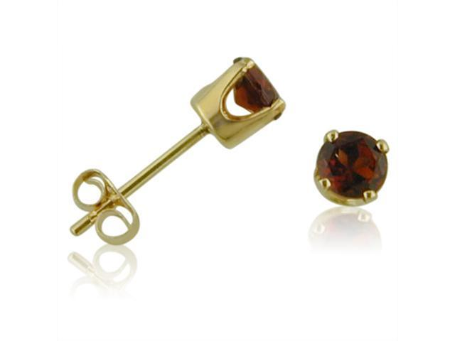 14K Yellow Gold Round Garnet Stud Earrings (4 mm .60ct tw)