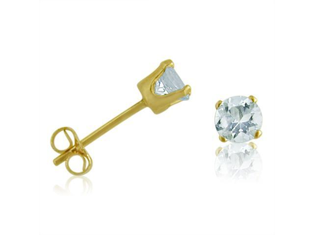 14K Yellow Gold Round Aquamarine Stud Earrings (4 mm 1/2ct tw)
