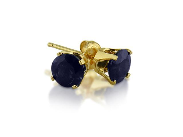 14K Yellow Gold Round Sapphire Stud Earrings  (1.20ct tgw, 5mm)