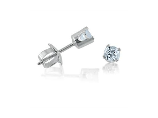 14K White Gold Round  3mm Aquamarine Screw-back Stud Earrings