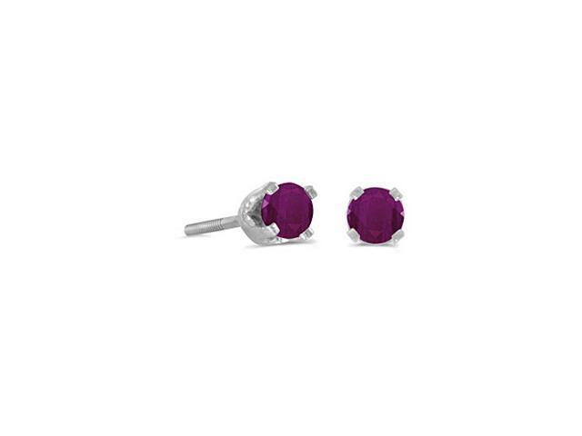14K White Gold Round  3mm Ruby Screw-back Stud Earrings