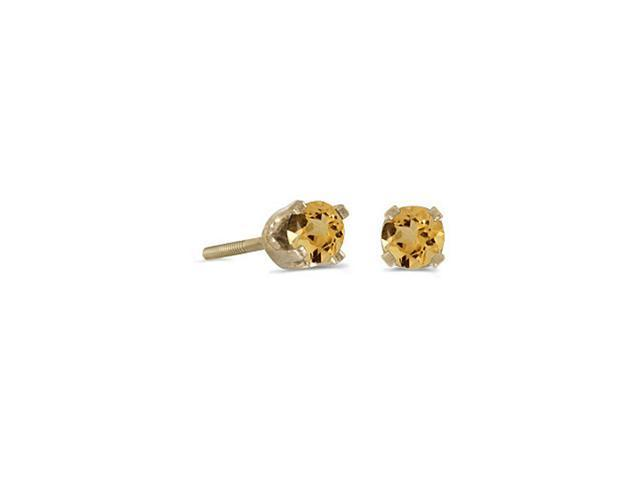 14K Yellow Gold Round 3mm  Citrine Screw-back Stud Earrings