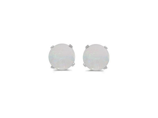 14K White Gold 5mm Round Opal Stud Earrings (.40ct tgw)