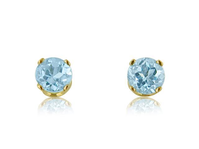 14K Yellow Gold 5mm Round Blue Topaz Stud Earrings (1ct tgw)