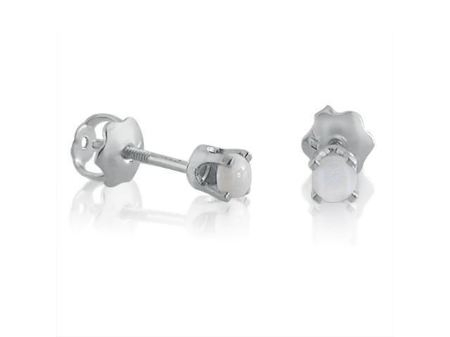 14K White Gold Round  3mm Opal Screw-back Stud Earrings