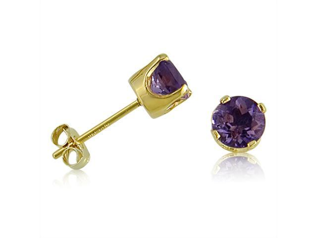 14K Yellow Gold Round Amethyst Stud Earrings (3/4ct TGW, 5mm)