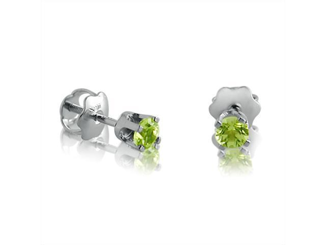 14K White Gold Round  3mm Peridot Screw-back Stud Earrings