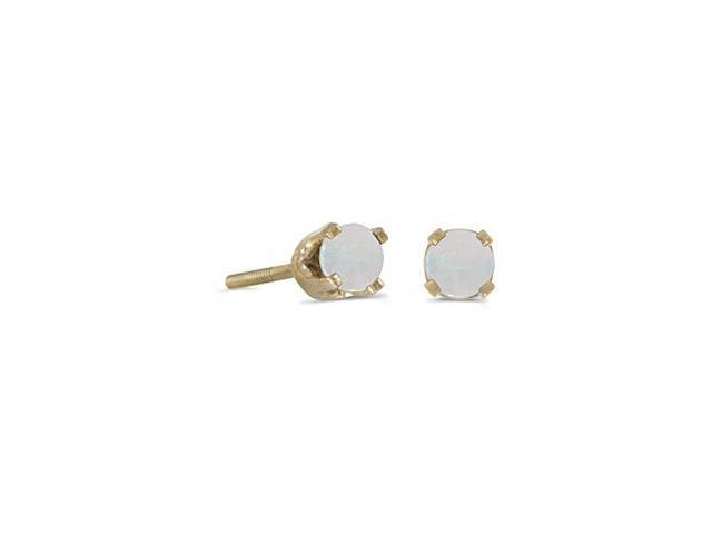 14K Yellow Gold Round 3mm  Opal Screw-back Stud Earrings