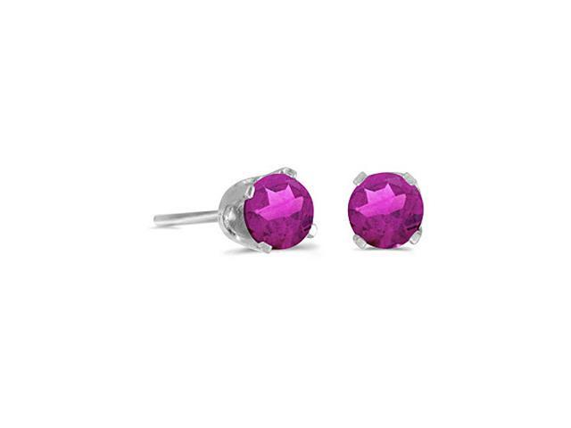 14K White Gold Round Pink Topaz Stud Earrings (4 mm .60ct tw)