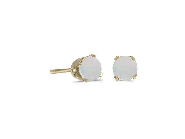 14K Yellow Gold Round Opal Stud Earrings (4 mm 1/3ct tw)