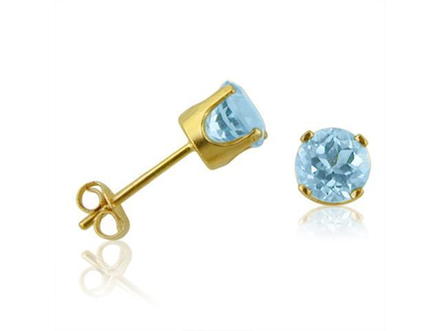 14K Yellow Gold Round Blue Topaz Stud Earrings (4 mm .60ct tw)