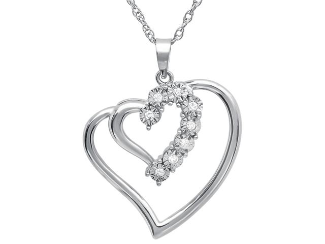 Amanda Rose Collection Sterling Silver Journey Diamond Double Heart Pendant w/ 18