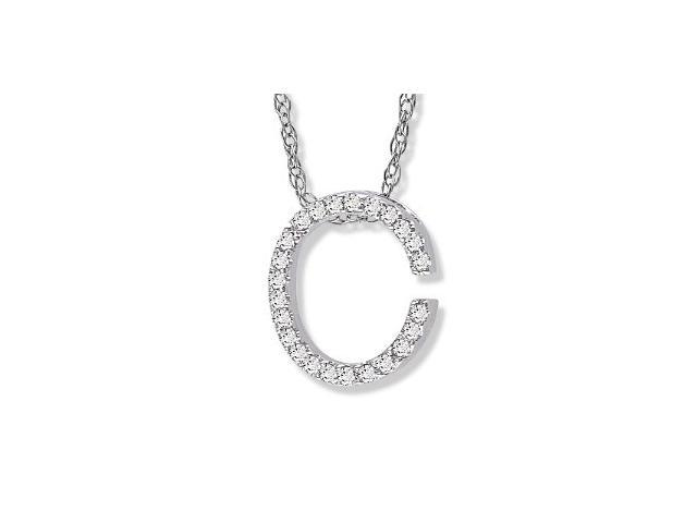 "14K White Gold Diamond ""C"" Initial Pendant, 16"" Necklace"