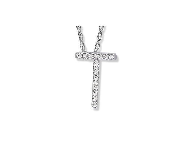 "14K White Gold Diamond ""T"" Initial Pendant, 16"" Necklace"