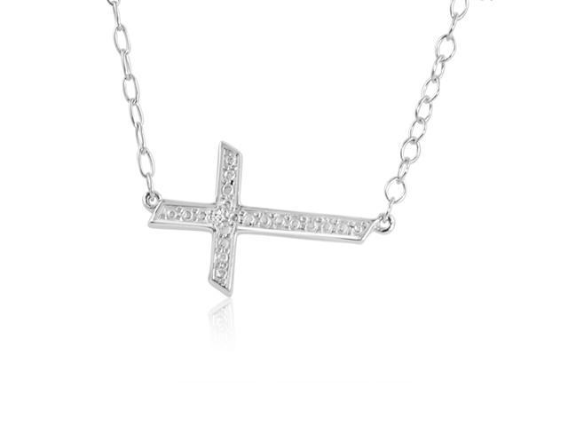 Side Set Diamond Cross Necklace in Sterling Silver 18 inch