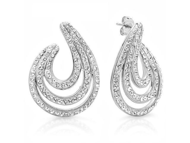 Sterling Silver Crystal Swirl Hoop Earrings made with Swarovski Elements