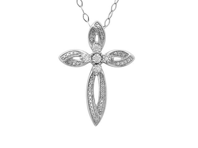 Sterling Silver and 14K Gold Diamond Cross Pendant-Necklace (1/5ct tw)